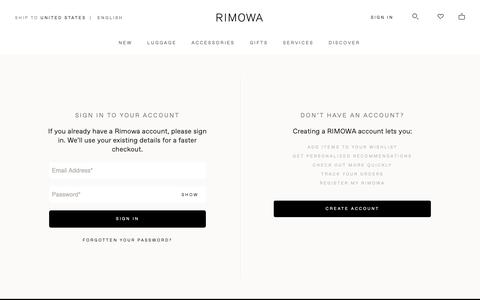 Screenshot of Login Page rimowa.com - My Account Login - captured June 9, 2019