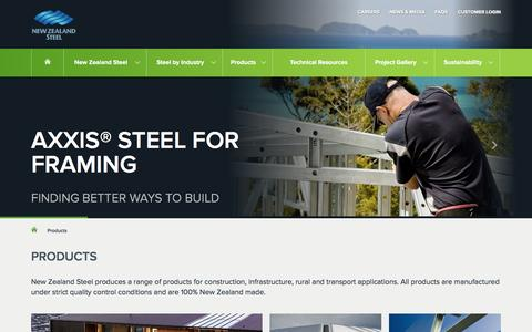 Screenshot of Products Page nzsteel.co.nz - Products | New Zealand Steel - captured Feb. 16, 2016