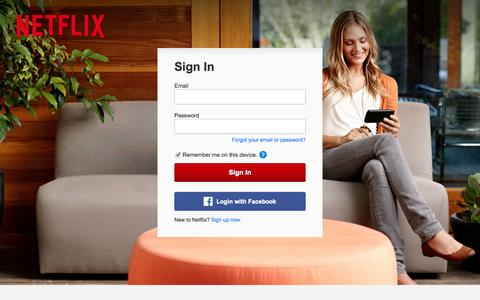 Screenshot of Login Page netflix.com - Netflix - Member Login | Sign In To Your Account - captured Sept. 16, 2014