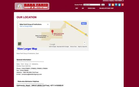 Screenshot of Contact Page Maps & Directions Page babafaridgroup.com - Baba Farid Group of Institutions - captured Oct. 23, 2014