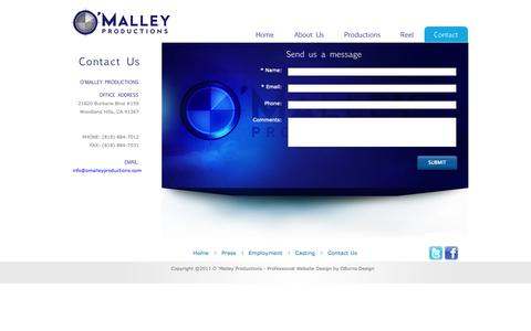 Screenshot of Contact Page omalleyproductions.com - Sean O'Malley - Malley Productions - captured Sept. 30, 2014
