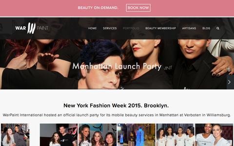 Screenshot of warpaintinternational.com - NYC Launch Party — Warpaint International Beauty Agency - captured April 7, 2016