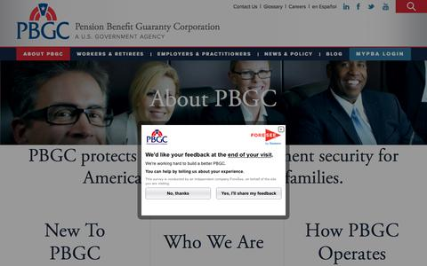 Screenshot of About Page pbgc.gov - About Us | Pension Benefit Guaranty Corporation - captured June 30, 2017