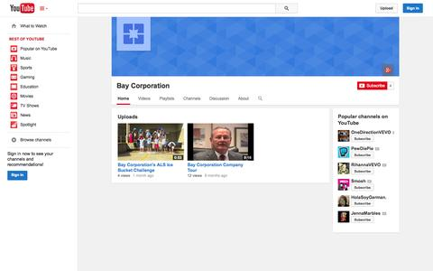 Screenshot of YouTube Page youtube.com - Bay Corporation  - YouTube - captured Oct. 23, 2014