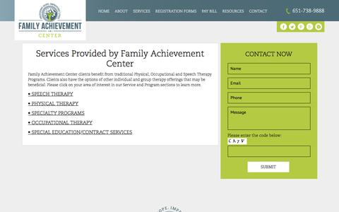 Screenshot of Services Page familyachievement.com - Physical, Occupational and Speech Therapy | Family Achievement Center - captured Nov. 24, 2016