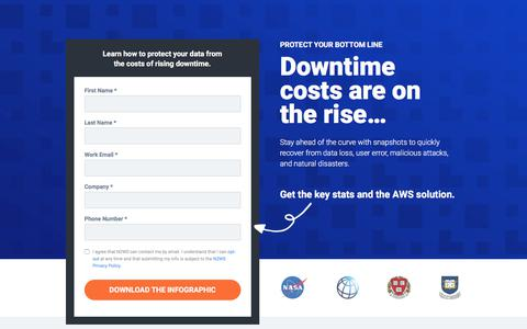 Screenshot of Landing Page n2ws.com - Infographic: Avoid the Rising Costs of Downtime with AWS - captured Sept. 19, 2018