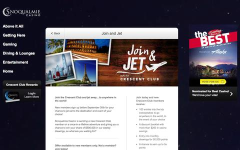 Screenshot of Signup Page snocasino.com - Join and Jet | Welcome to Snoqualmie Casino - captured Sept. 24, 2014