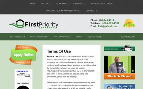 Screenshot of Terms Page firstpriorityloans.com - Terms Of Use | First Priority Financial - captured Oct. 6, 2014