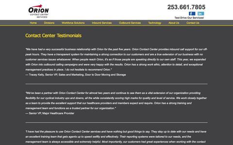 Screenshot of Testimonials Page orioncontactcenter.com - Orion Contact Center Testimonials - captured Feb. 14, 2016