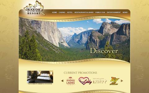 Screenshot of Home Page blackoakcasino.com - Tuolumne County Casino & Hotel Resort | Black Oak Casino - captured Oct. 5, 2014