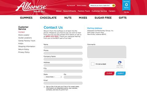 Screenshot of Contact Page albanesecandy.com - Contact | Merrillville, Indiana | Albanese Candy - captured Oct. 7, 2017