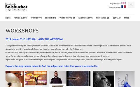 Screenshot of Home Page boisbuchet.org - Domaine de Boisbuchet | Summer Workshops – Park – EventLocation - captured Oct. 5, 2014