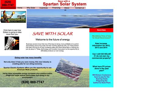 Screenshot of Home Page spartanelectricsystems.com - Home - captured Oct. 7, 2014