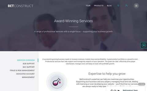 Screenshot of Services Page betconstruct.com - Award-Winning Services - captured April 4, 2016