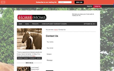 Screenshot of Contact Page horsemoms.com - Contact Us - captured Sept. 30, 2014