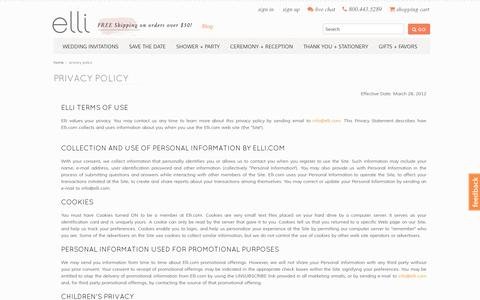 Screenshot of Privacy Page elli.com - Privacy Policy - captured July 19, 2014