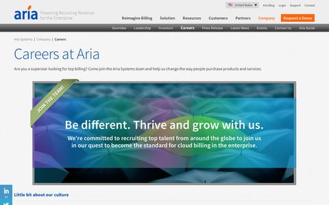 Screenshot of Jobs Page ariasystems.com - Aria Careers | Join the Cloud Billing industry leaders - captured Sept. 12, 2014