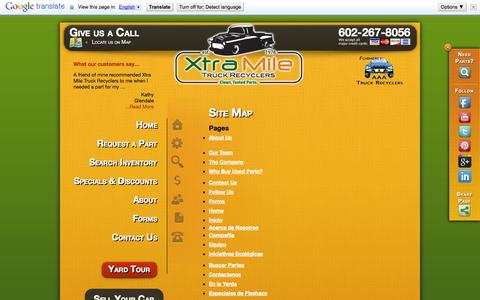 Screenshot of Site Map Page xtramiletruckrecyclers.com - Site Map | Xtra Mile - captured Oct. 27, 2014