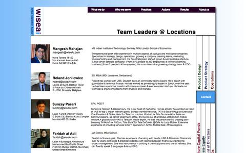 Screenshot of Team Page Locations Page wiseai.com - Team - captured Oct. 25, 2014