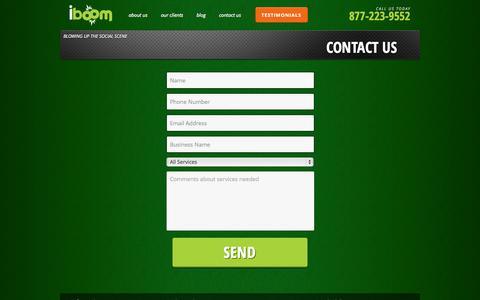 Screenshot of Contact Page iboommedia.com - Contact Us - iBoom - captured Sept. 19, 2014