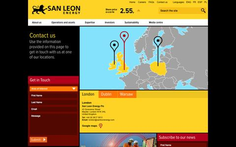 Screenshot of Contact Page sanleonenergy.com - Contact us | San Leon Energy - captured Oct. 3, 2014