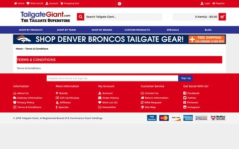Screenshot of Terms Page tailgategiant.com captured Feb. 27, 2016