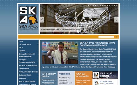 Screenshot of Home Page ska.ac.za - Square Kilometre Array (SKA) Africa - captured Jan. 14, 2016
