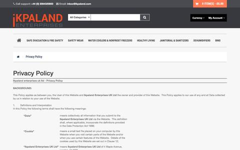 Screenshot of Privacy Page ikpaland.com - Privacy Policy - captured Sept. 8, 2016