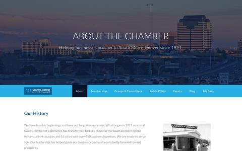 Screenshot of About Page bestchamber.com - About - South Metro Denver Chamber of Commerce | Denver, CO - captured Dec. 1, 2016