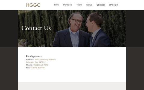 Screenshot of Contact Page hggc.com - Contact Us | HGGC - captured Sept. 25, 2018