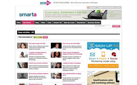 Screenshot of Case Studies Page smarta.com - Free business case studies | Smarta - captured Oct. 26, 2014