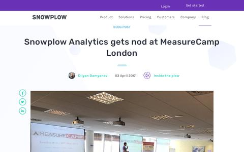 Screenshot of Blog snowplowanalytics.com - Snowplow Analytics gets nod at MeasureCamp London - captured Feb. 10, 2020
