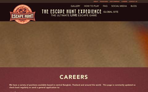 Screenshot of Jobs Page escapehunt.com - Careers | Escape Hunt Experience | Global Escape Games - captured Jan. 20, 2016