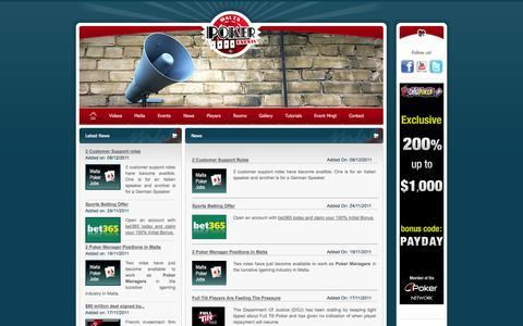 Screenshot of Press Page maltapokerevents.com - Malta Poker - Malta Poker Events : News - captured Sept. 30, 2014