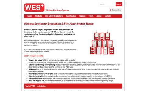 Screenshot of Products Page wesfire.co.uk - Wireless Fire Alarm System Range || WES+ Evacuation System - captured Jan. 23, 2016