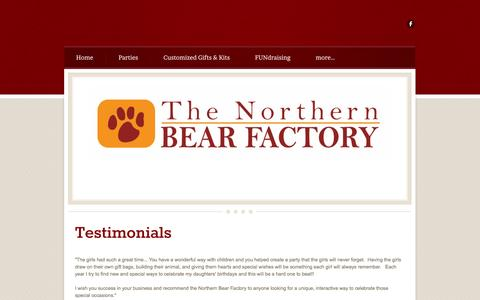 Screenshot of Testimonials Page northernbearfactory.com - Testimonials - captured Oct. 9, 2014