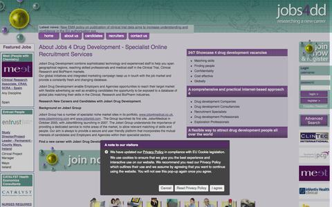 Screenshot of About Page jobs4dd.com - International Drug Development Specialist Recruitment Services - captured Oct. 6, 2014