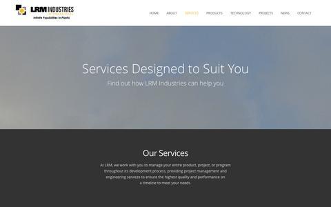 Screenshot of Services Page lrmind.com - LRM Industries International, Inc.  –  Services - captured Oct. 1, 2014