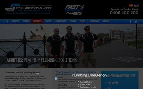 Screenshot of About Page ppsols.com.au - ABOUT US: PLATINUM PLUMBING SOLUTIONS - Platinum Plumbing Solutions - captured Jan. 29, 2016