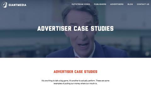 Screenshot of Case Studies Page giantmedia.com - Giant Media Advertiser Case Studies - Giant Media - captured Nov. 6, 2016