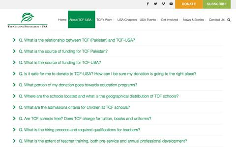 Screenshot of FAQ Page tcfusa.org - FAQs | TCF – USA | The Citizens Foundation - captured Oct. 22, 2017