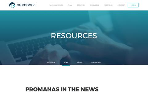Screenshot of Press Page promanas.com - News - Promanas Group - captured Sept. 17, 2017