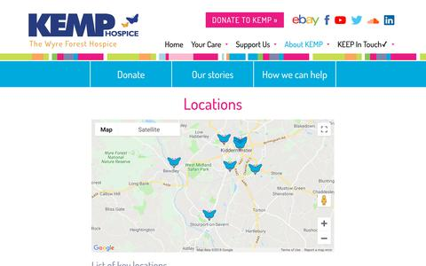 Screenshot of Locations Page kemphospice.org.uk - KEMP Hospice: The Wyre Forest Hospice - captured Sept. 20, 2018