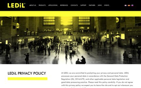 Screenshot of Privacy Page ledil.com - LEDiL PRIVACY POLICY - LEDiL - captured Oct. 25, 2018