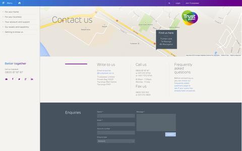 Screenshot of Contact Page trustpower.co.nz - Contact Trustpower | Enquiries | Internet, Gas, Electricity - captured Nov. 2, 2014