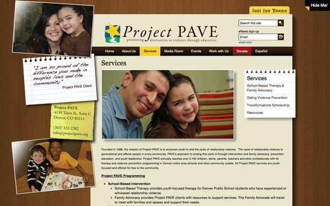 Screenshot of Services Page projectpave.org - Services | Project PAVE - captured Sept. 30, 2014