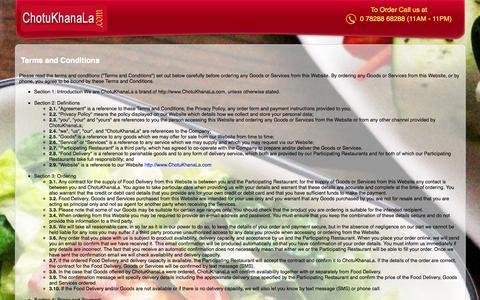 Screenshot of Terms Page chotukhanala.com - Terms and Conditions - Chotu Khana La - captured Nov. 3, 2014