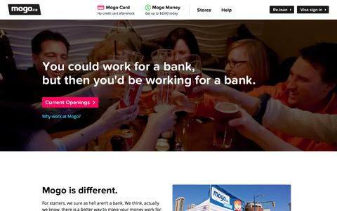 Screenshot of Jobs Page mogo.ca - Mogo.ca Official Website – Jobs. - captured Sept. 19, 2014