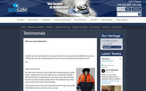 Screenshot of Testimonials Page seasafe.co.uk - Testimonials - captured Oct. 18, 2018