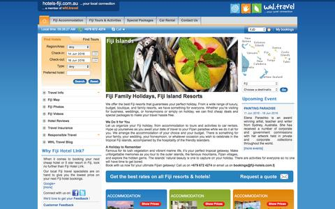 Screenshot of Home Page hotels-fiji.com.au - Best Fiji Family Holiday & Honeymoon Pakages - Cheap Fijian Island Resort Deals - captured June 11, 2016